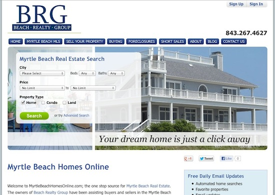 Mrytle Beach Real Estate Site gets Virtual Results