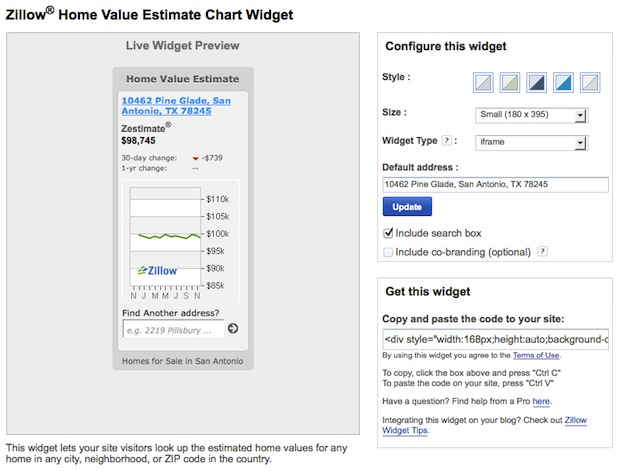 Zillow Widget Home Value Spam Widget Code generator